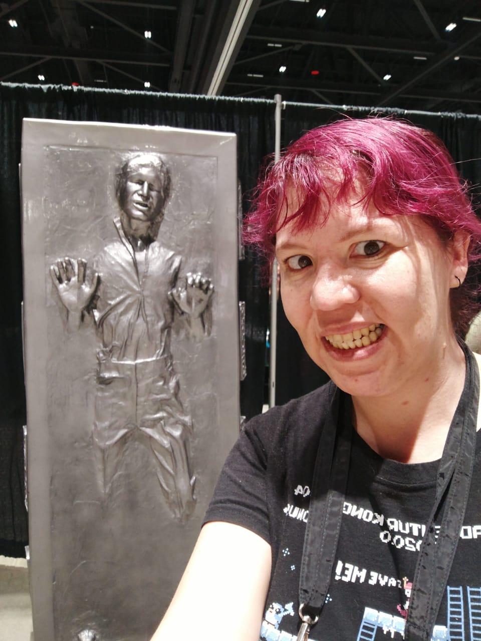 Raquel Castro with Han Solo in carbonite