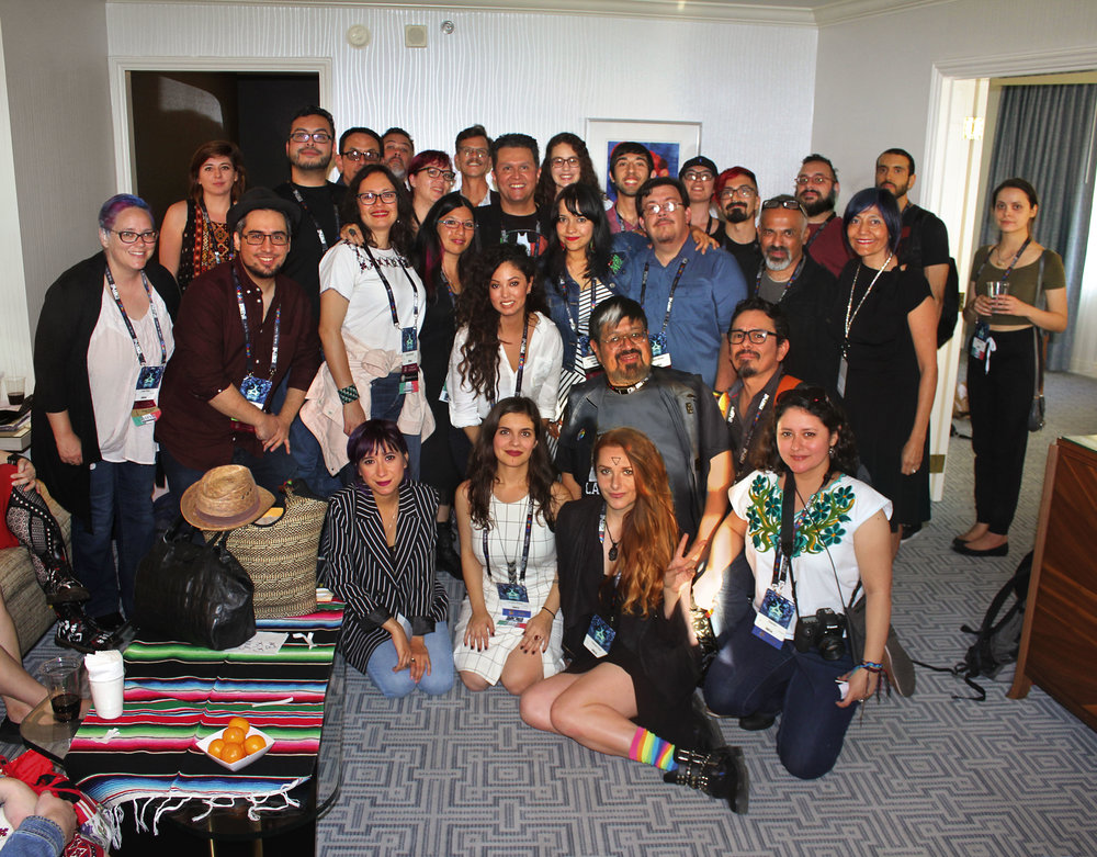 Mexicanx Initiative members at the Mexicanx Initiative reception at Worldcon 76 (Sent by John Picacio; photo by Francesca Myman / Locus Magazine)