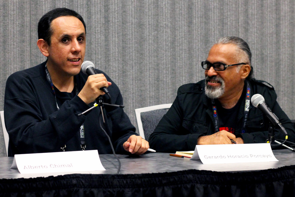 Alberto Chimal and Gerardo Horacio Porcayo at the history of Mexicanx Sci-Fi panel (Sent by Julia Rios; photo by Kateryna Barnes)