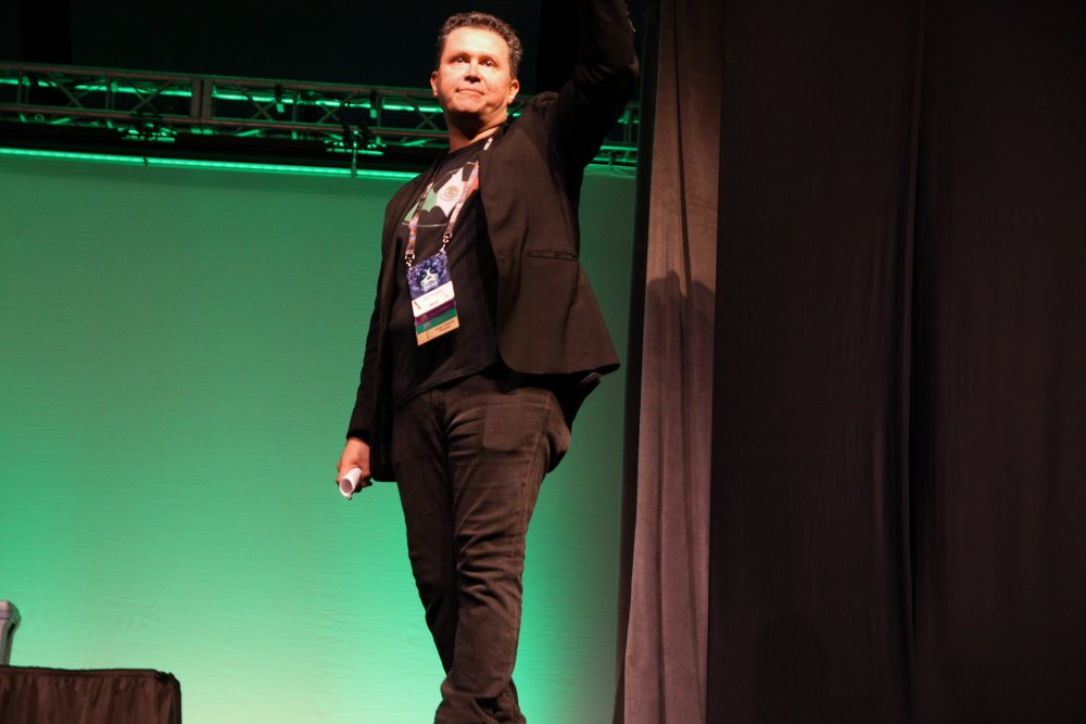 John Picacio at the Opening Ceremonies for Worldcon 76 (Copyright 2018 Richard Canfield)
