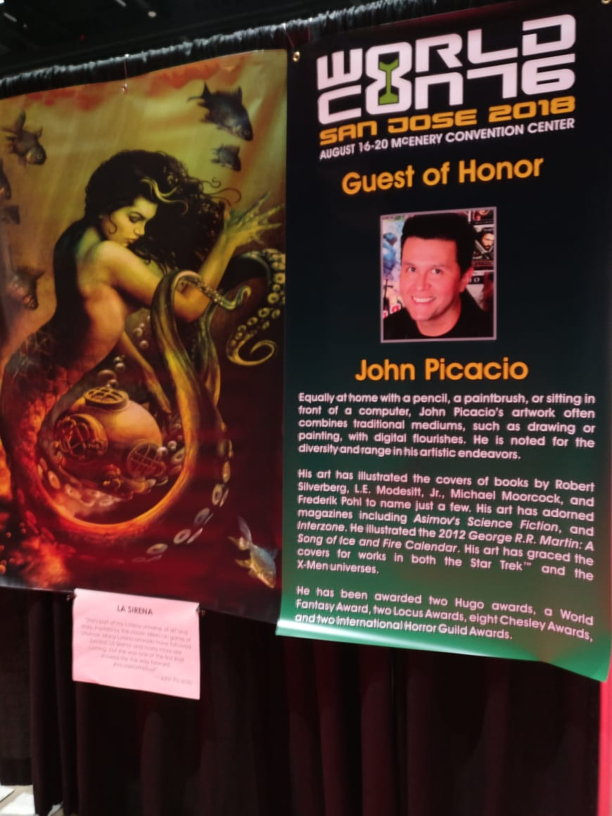 Worldcon 76 banner about the Artist Guest of Honor, John Picacio (Photo by Alberto Chimal)