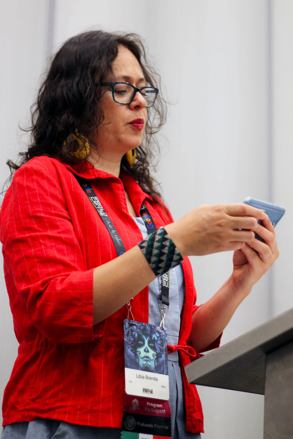 Libia Brenda at the Mexicanx Initiative English language group reading (Sent by Julia Rios; photo by Kateryna Barnes)