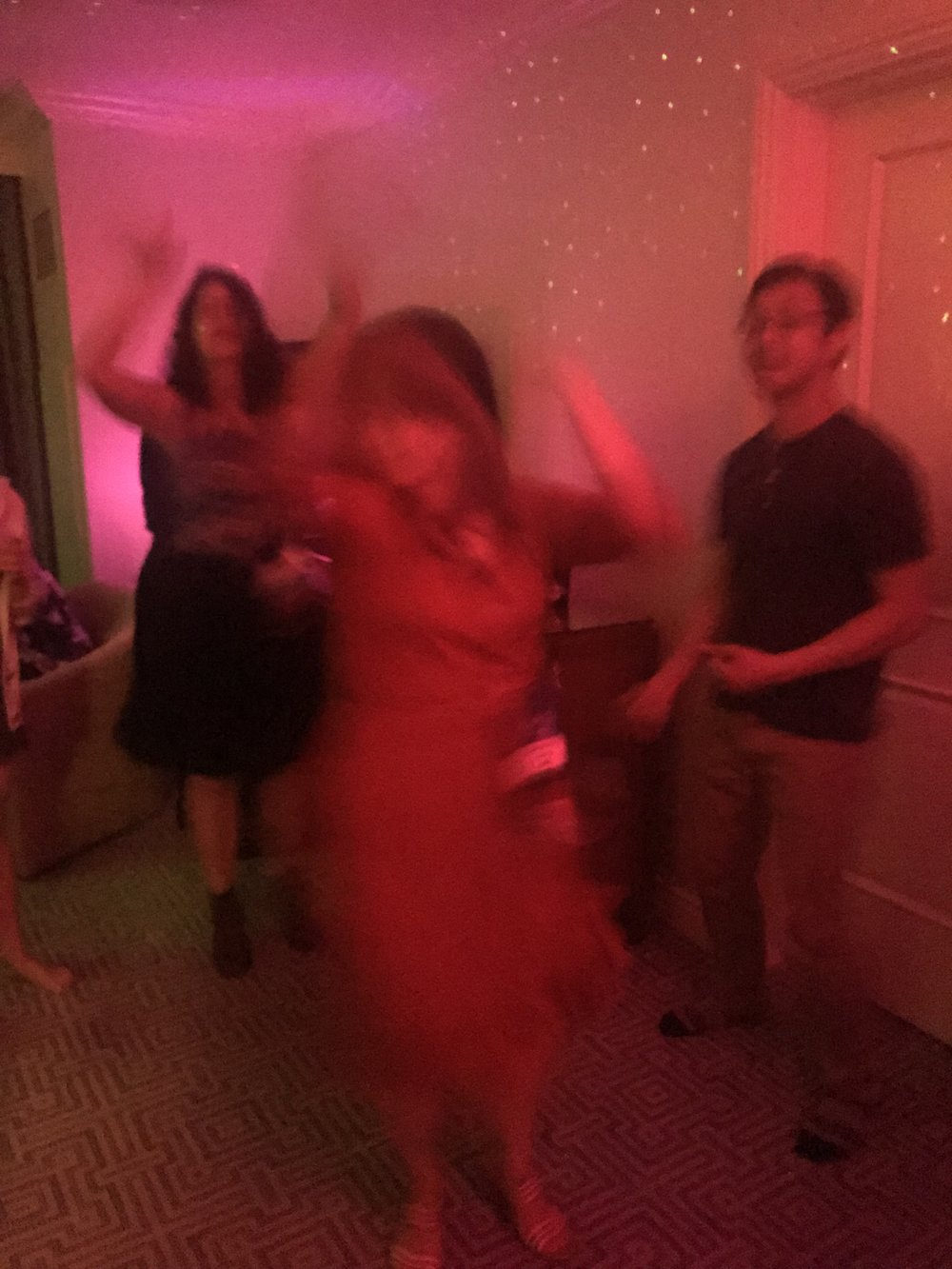Andrea Chapela and Gabriela Damián Miravete dancing at a party late Saturday night (Photo by Julia Rios)