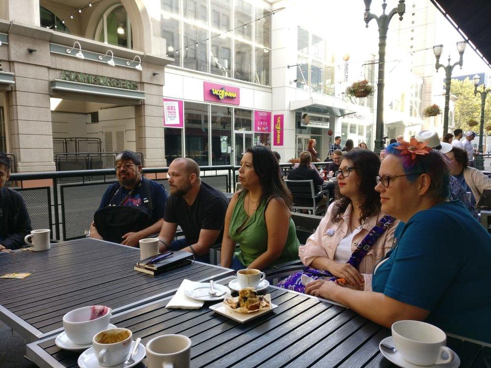 José Luis Zárate, Pablo Defendini, Felecia Caton Garcia, Libia Brenda, and Julia Rios (Photo by Alberto Chimal)