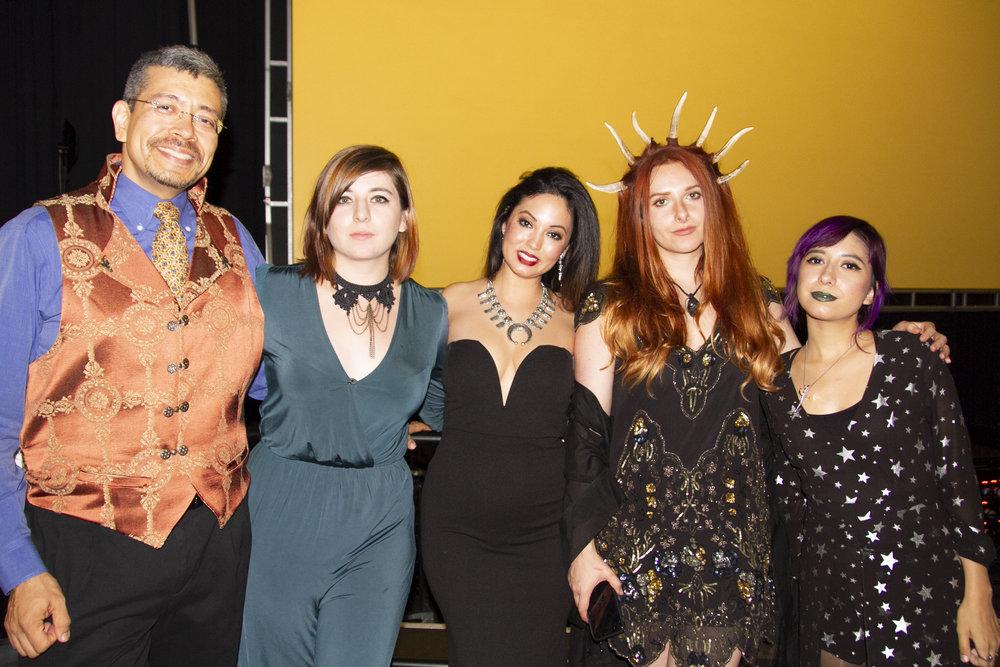 Héctor González, Mariana Palova, Vania Soto, Tehani Farr, and Smok dressed up for the Hugo Awards (Copyright 2018 Richard Canfield)