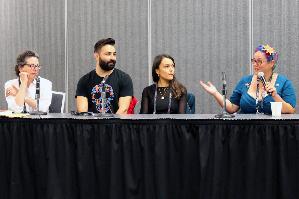 Marcela Davison Avilés, Adrian Molina, Ana Ramirez, and Julia Rios at the Making of Coco panel (Julia Rios; photo by Kateryna Barnes)