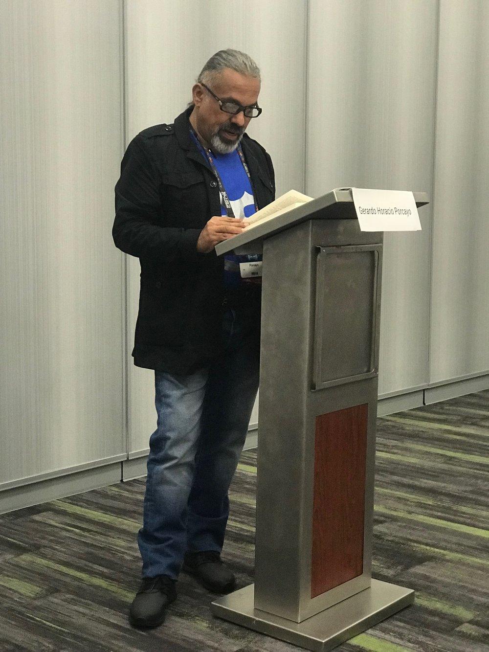 Gerardo Horacio Porcayo at the Mexicanx Initiative Spanish language group reading (Photo by Julia Rios)