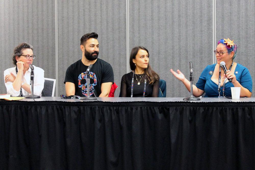 Marcela Davison Avilés, Adrian Molina, Ana Ramirez, and Julia Rios at the Making of Coco panel (Photo by Julia Rios)