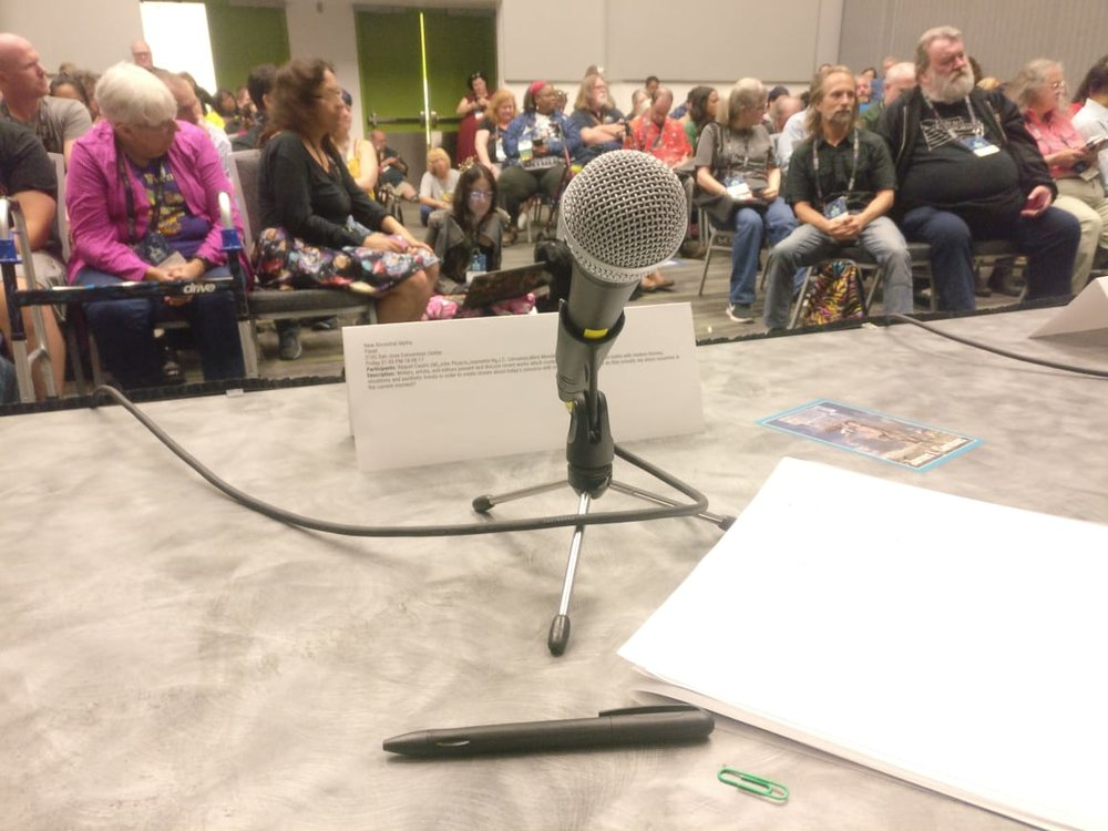 A panelist's view of a packed room at the New Ancestral Myths panel (Photo by Alberto Chimal)