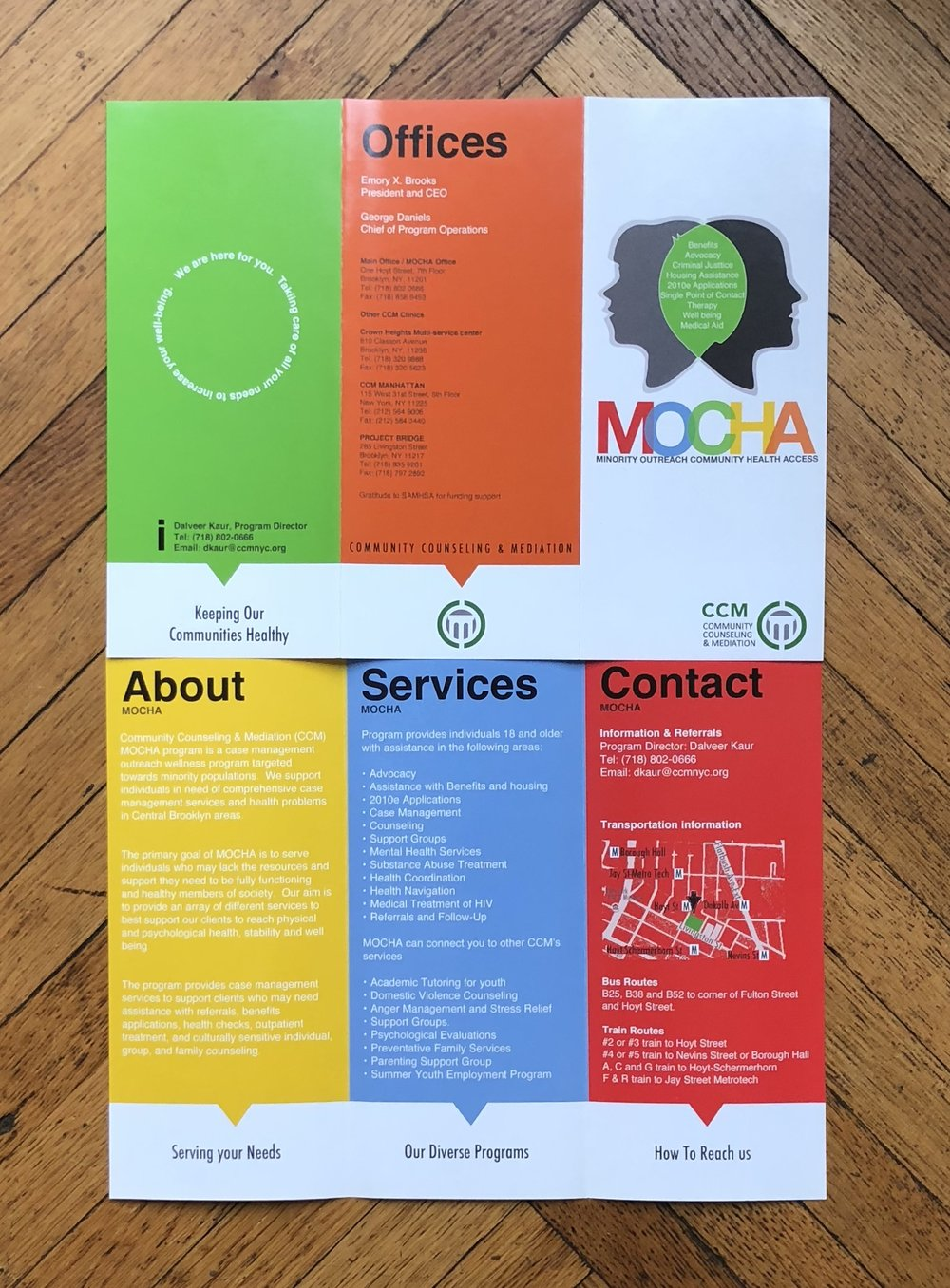 Pamphlet Design - For CCM, a community-based, social service organization providing a wide range of social support, counseling, health, mental health, education and supportive housing services to at-risk children, youth, and families in some of the poorest minority populated areas of Brooklyn.
