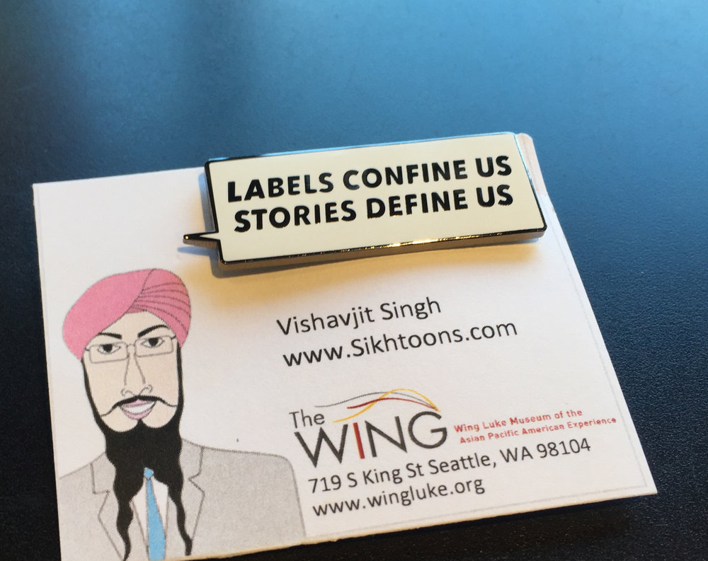 Lapel Pin - Designed for Wham! Bam! Pow! Cartoons, Turbans & Confronting Hate exhibit at Wing Luke Museum.