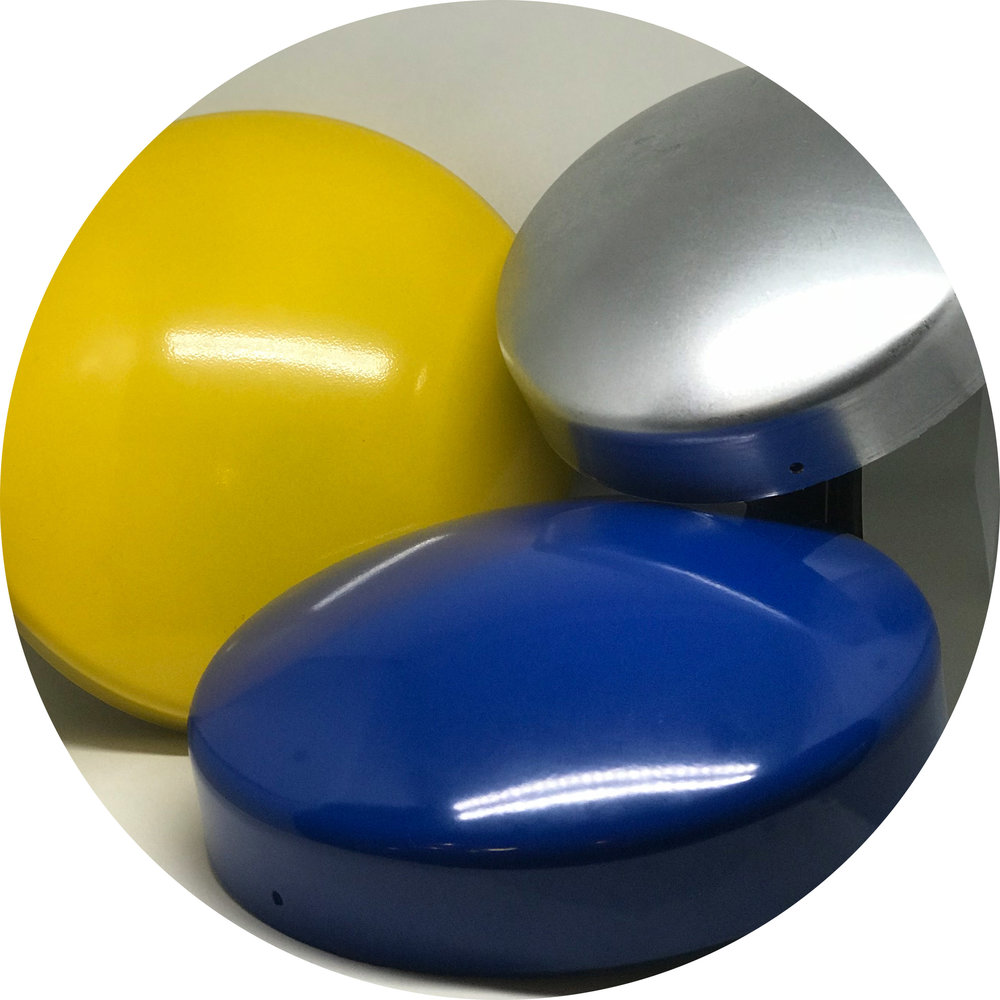 New Round Post Caps - Available in the following solid metal alloys: Copper, Brass, Aluminum, Steel, Stainless Steel, and Galvanized Steel.24 sizes of round post caps ranging from 5″ ID up to 14.5″ ID.Customization in over 1,000 powder coated colors.