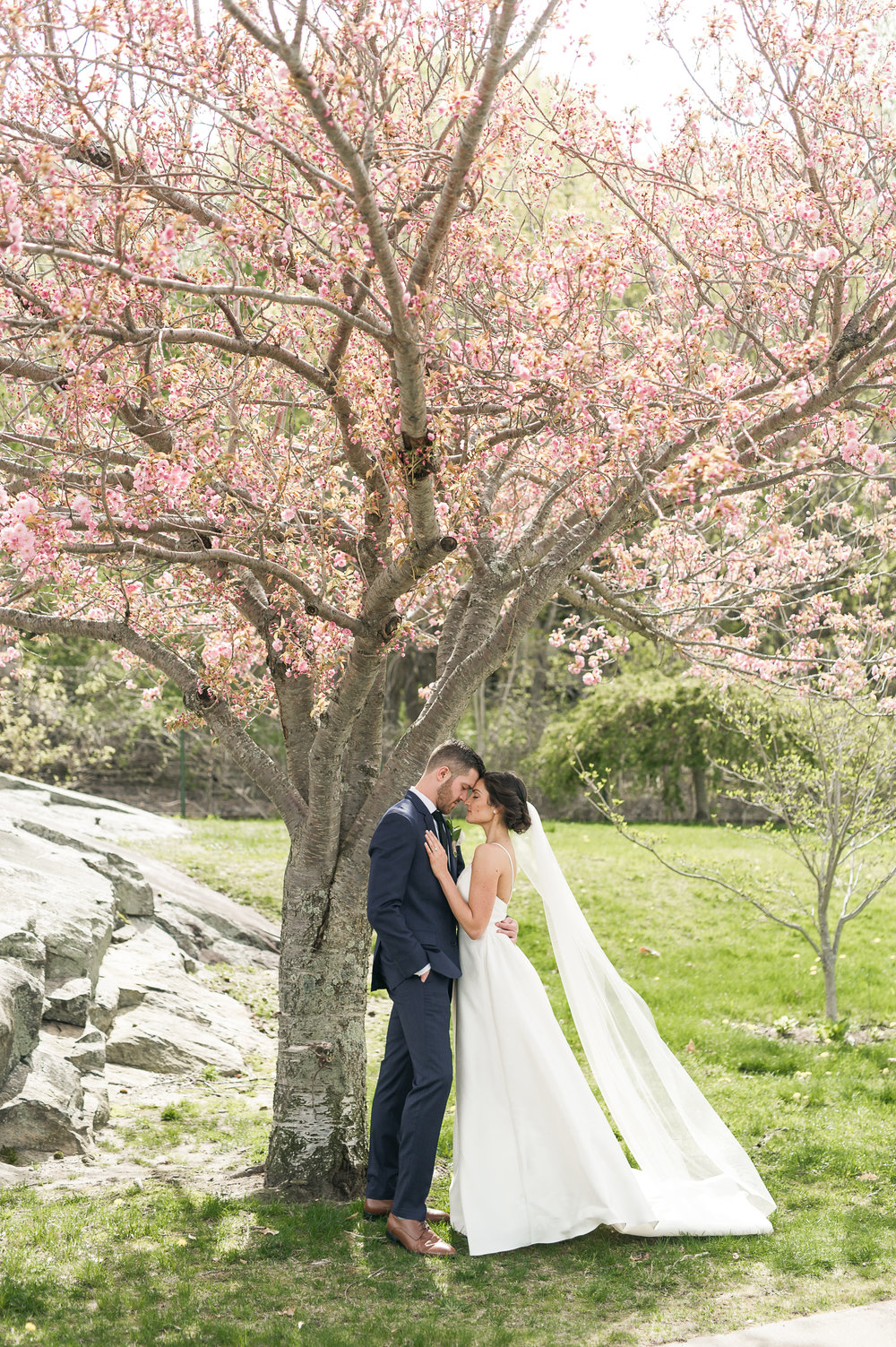 cherry blossom wedding photos CT_lace factory spring wedding