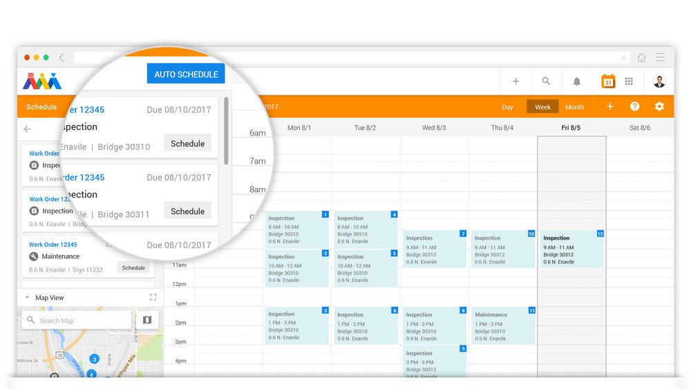 Scheduling The Week - Build your calendar for the week based on priority, proximity, skillset, and more. Communicate and collaborate with your manager via the Schedule Portal OR leverage Atom's scheduling automation. Atom will automatically schedule your week based on priority and the most efficient travel schedule to get your work done.