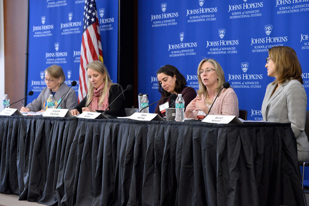 A panel from the 2018 conference discussing women in military and defense