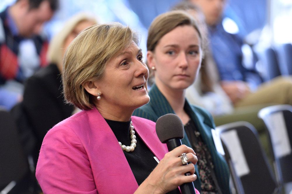 Ms. Katrina Cooper, Deputy Head of Mission for the Australian Embassy to the United States, asks Keynote speaker Michele Flournoy a question during the 2018 GWL Conference