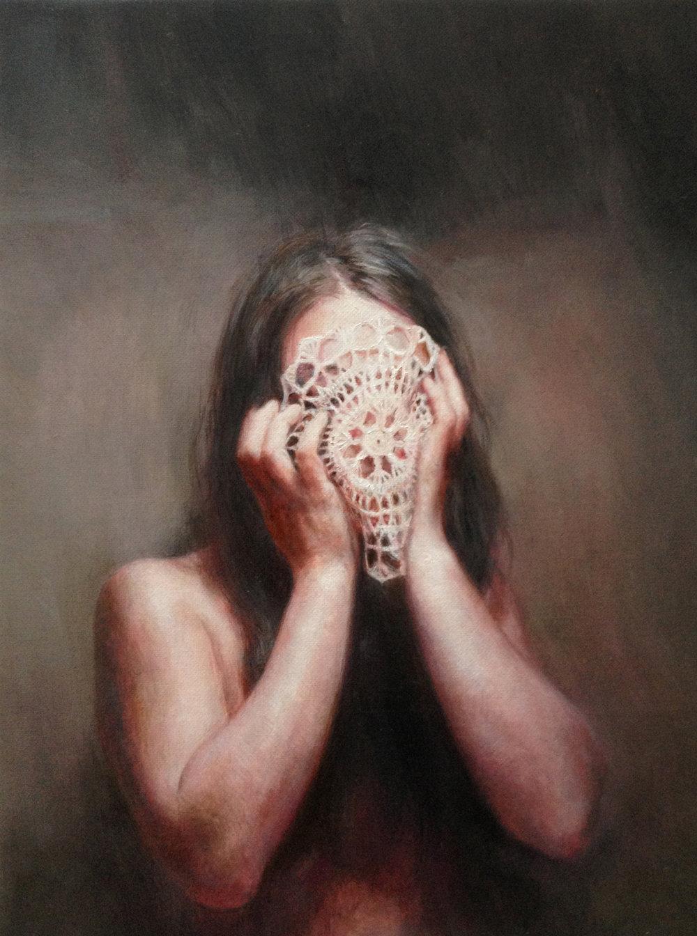 Il respiro a metà (selfportrait) 2014 oil on canvas 30x40.jpg