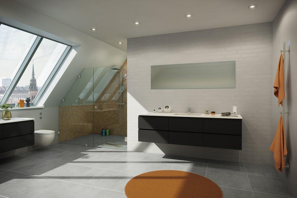 Välj en bas för badrummet och anpassa efter trenderna genom att byta ut textiler. Här med jordiga, senapsfärger. Foto: INR