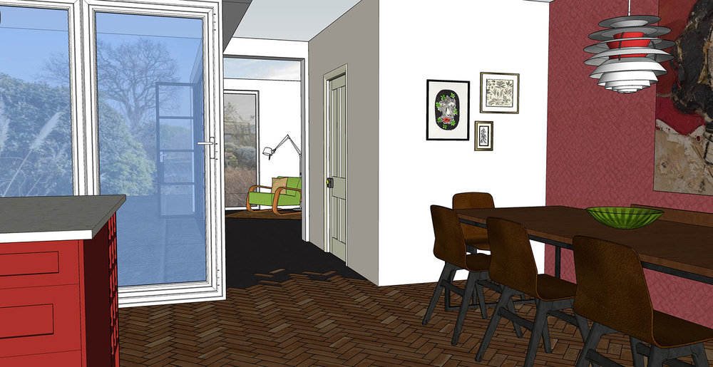 View from the hallway, through Kitchen / Diner, into the studio and out to the garden