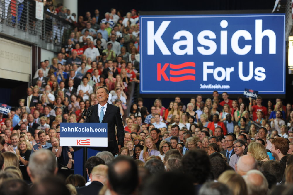 John Kasich ran for president in 2016 among a crowded field with 16 other candidates. Ultimately finishing with the third-highest delegate count, a second place finish in New Hampshire and a win in Ohio, Kasich was the last primary candidate standing before ending his campaign on May 4, 2016.