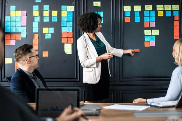 Twee mannen en twee vrouwen in formele kledij houden een brainstormsessie voor hun nieuwe onderneming met feedback van experts en organiseren hun ideëen op een zwarte muur met groene, rode, gele en blauwe post-its.