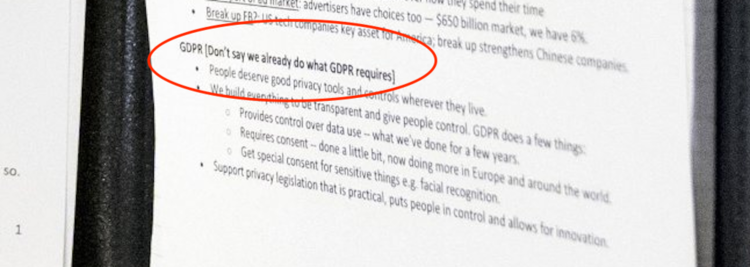 A journalist took a photo of the notes used by Mark Zuckerberg at a recent Senate hearing with US politicians following the Cambridge Analytica scandal.