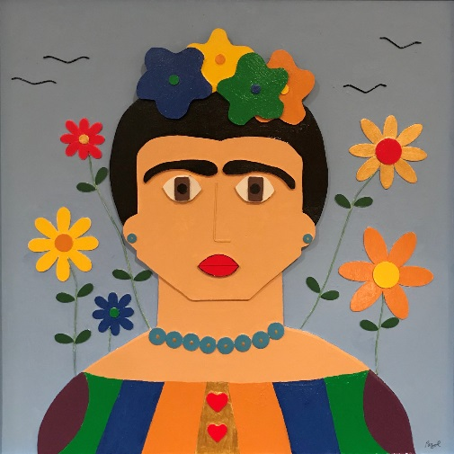 Larry Pazol // Frida - Larry Pazol is a self-taught artist whose work resembles brightly colored folk art. The large shapes of color, mostly painted on wood are assembled together to make faces, animals, and patterns. This process results in contemporary relief and free standing sculpture.