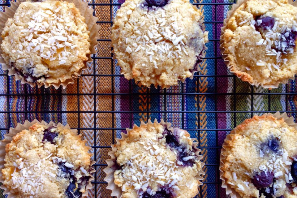 Coconut Mango Blueberry Muffins