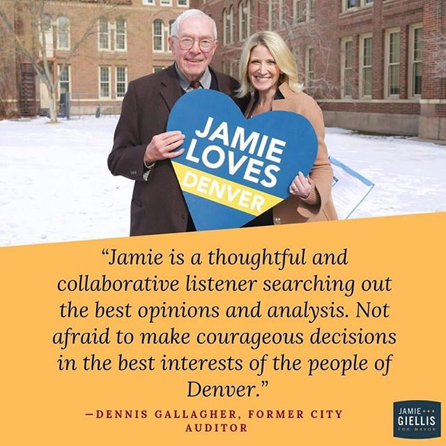 I am honored to have Dennis Gallagher as my campaign chair! #Jamie4Mayor #AllTogetherNow www.jamiefordenver.com