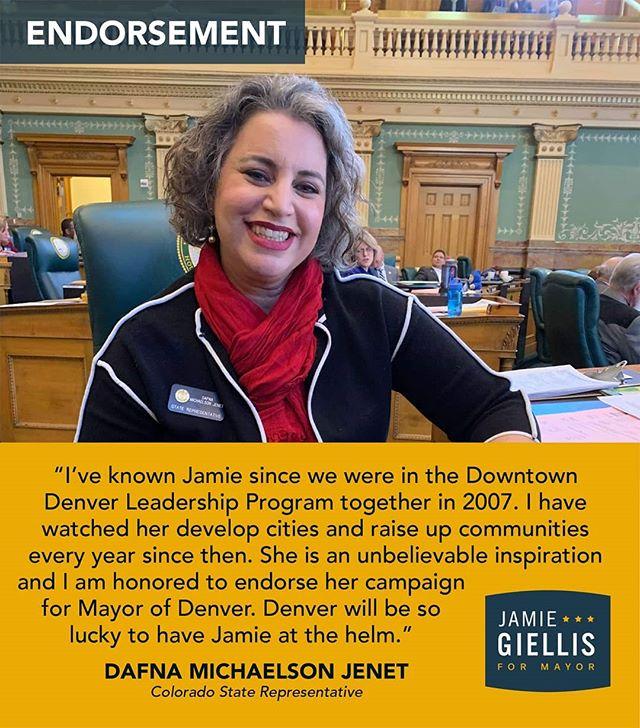 Colorado State Representative Dafna Michaelson Jenet endorses #jamie4mayor - - - #alltogethernow #endorsement #election #denvermayor2019 #puttingpeoplefirst #denver