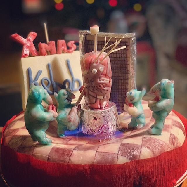 Christmas kebab, anyone? Merry Christmas from me and my bro Ben @bookshopband Our little cake of horrors tradition continues x