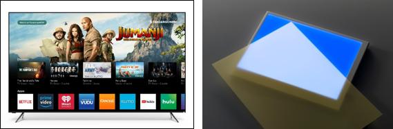 "Photos: VIZIO's""P-Series Quantum 65""(left) and Hitachi Chemical's quantum dot film – yellow sheet at the front (right)"