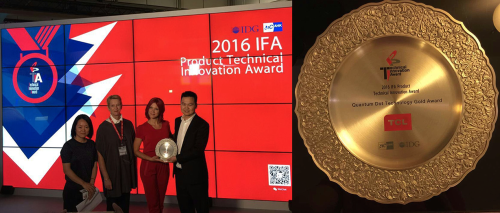 TCL accepting the Product Innovation award for Quantum Dot powered X1 TV at the IFA trade show in Berlin
