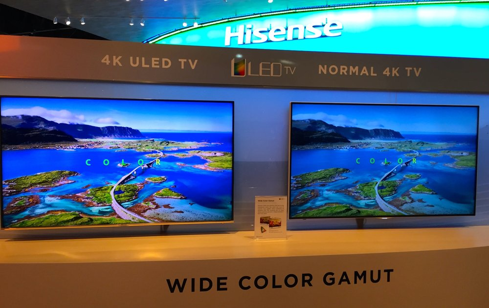 """Hisense 4K ULED TV at CES 2015 featuring Quantum Dot technologyfrom Nanosys and 3M. Hisense says this 65""""set will be available for $3,000 in the first half of 2015."""