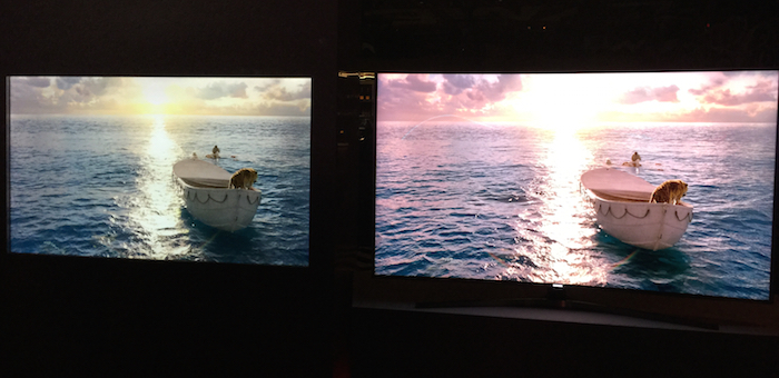 The Quantum Dot enhanced Samsung SUHD (on right) compared to one of last year's models