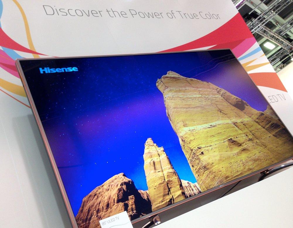 "Hisense's new XT910 85"" UHD Quantum Dot TV, featuring Nanosys QDEF technology on display at IFA 2014 in Berlin, Germany."