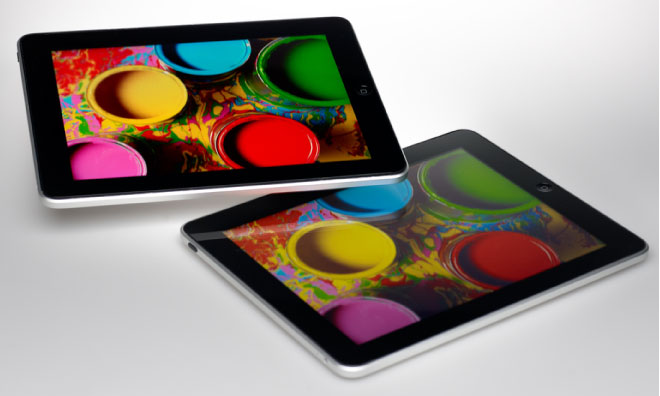 The iPad on top uses Quantum Dot Enhancement Film from   Nanosys.