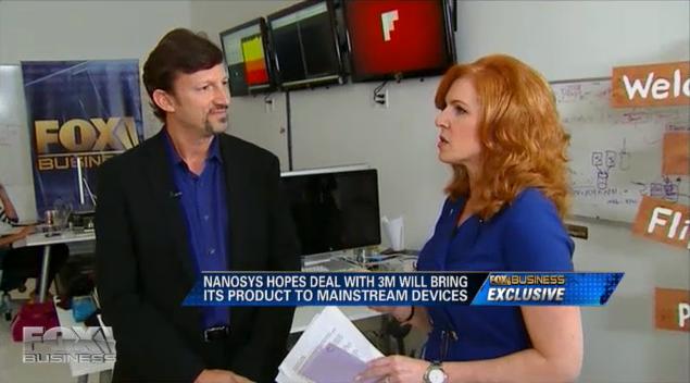 Fox anchor Liz Claman interviews Nanosys CEO Jason Hartlove at Flipboard Headquarters in Palo Alto, California