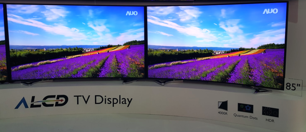 "AUO ALCD 85"" TVs with Quantum Dot technology from 3M and Nanosys on display at Touch Taiwan 2015, where it won the Gold Panel Award."