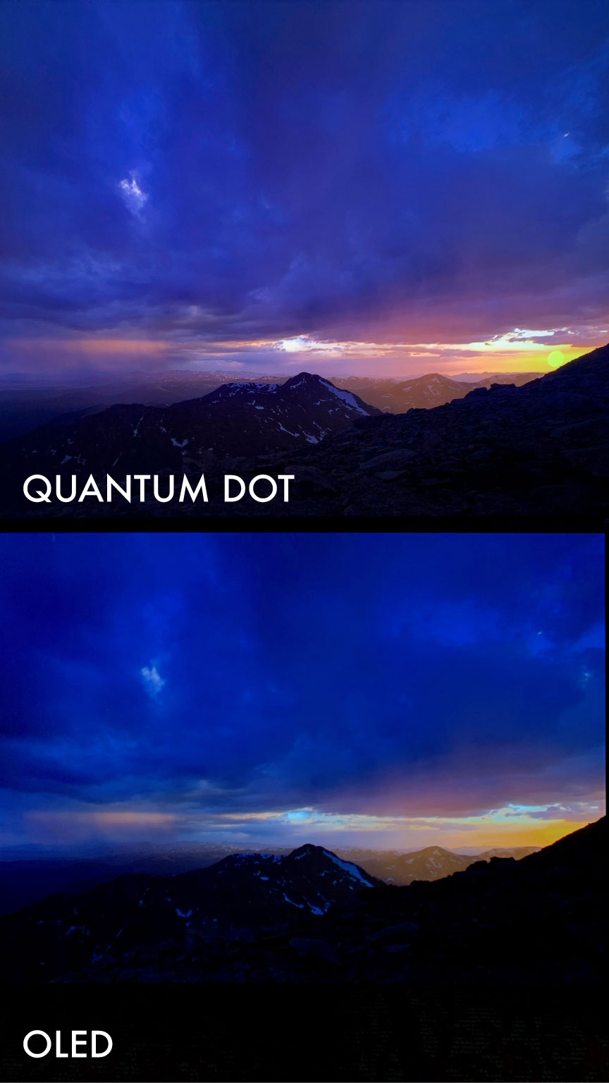 Color luminance shootout showing Quantum Dot vs OLED. Notice the brighter Quantum Dot set is able to show the sun while the sun disappears on the OLED due to tone-mapping. Looking at the HDR data we can see that the sun falls way outside the OLED's capability with code values as high as 10,000 nits.