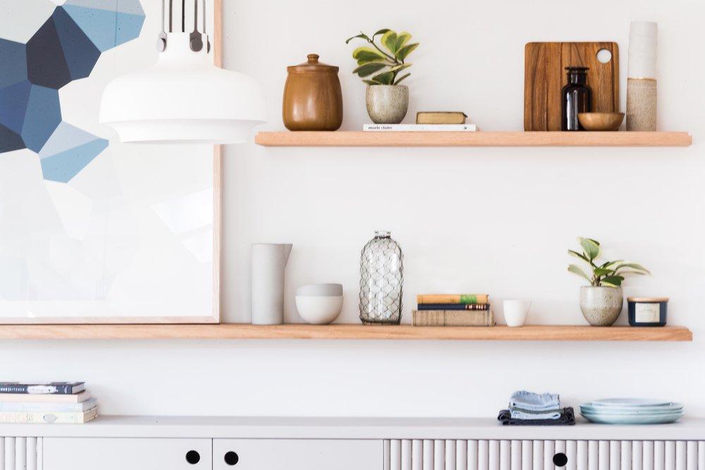 Custom shelving and sideboard. Photography Elizabeth Allnut.