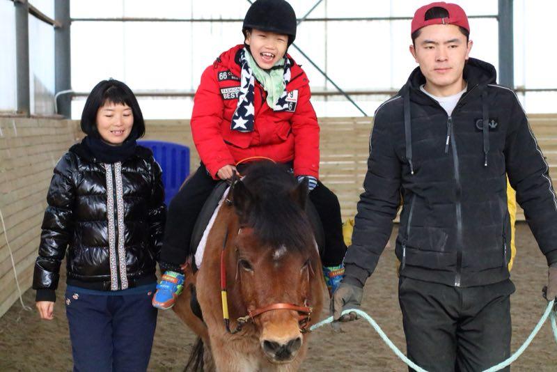 大宝 - 大宝(英文名:李)是一只已经28岁的来自瑞典的小马驹。他来到中国已经很多年了,是我们马群中年纪最长也最聪明的成员。我们可以说他是我们HOPE组织完美的化身,因为从他身上,我们可以感受到善良,可爱,耐心以及让人放松的感觉。他拥有非同寻常的正能量和良好的运动能力,他是一只在给予骑手信心上非常有经验并擅长配合马术治疗的好帮手。