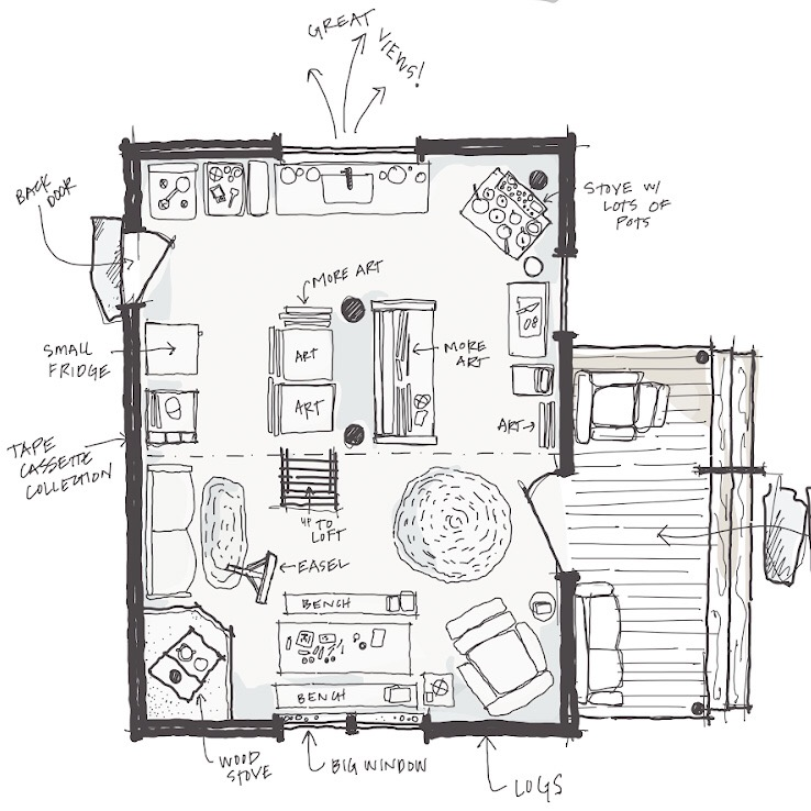Plan sketch of the cabin.