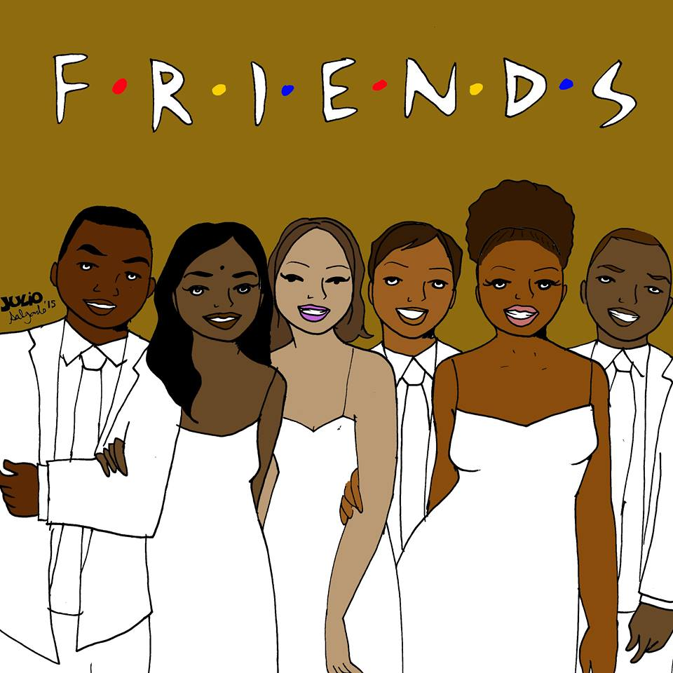 """""""My version of Friends is set in Oakland. They are mostly college students of color that met at a multicultural center. You'll see them at protests and rolling deep at First Fridays rolling their eyes at white people taking up too much space."""" -Julio Salgado"""