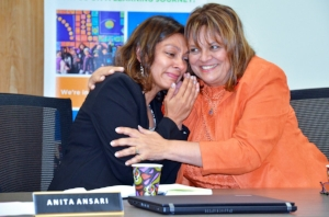Dee comforting Anita following her acclamation to Vice Chair (photo by Cayley Dobie from The Record)