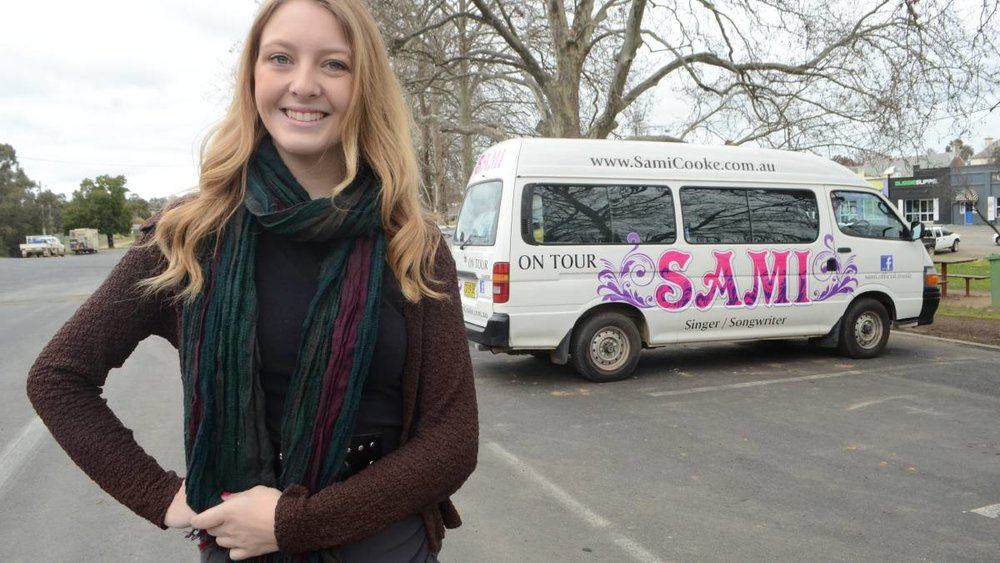 ON TOUR: Local singer-songwriter Sami Cooke returned home to pick up her new tour bus which will head west when she tours the north west of the state.