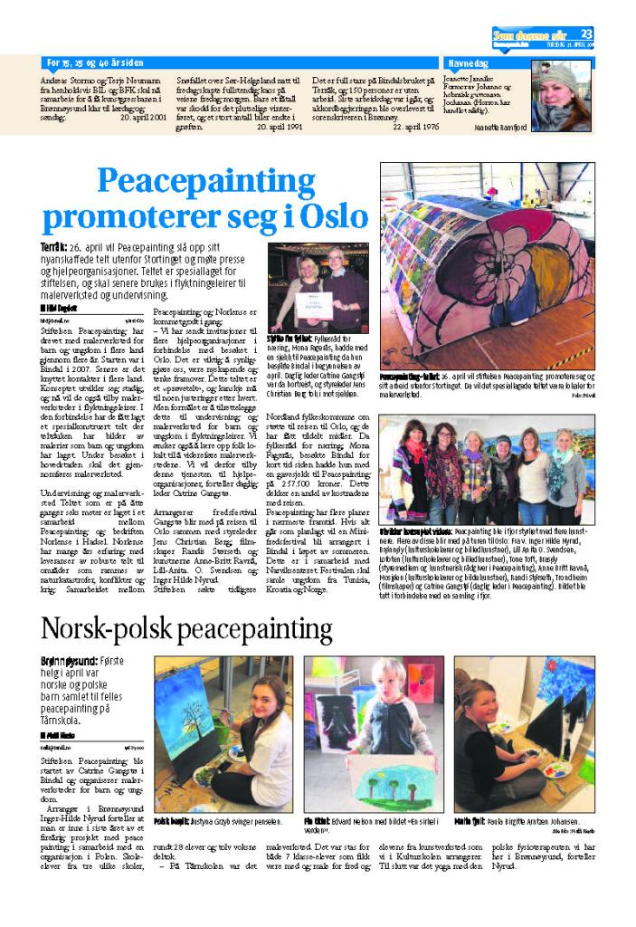 Peacepainting i Brønnøysunds avis 21 april 2016 side 23