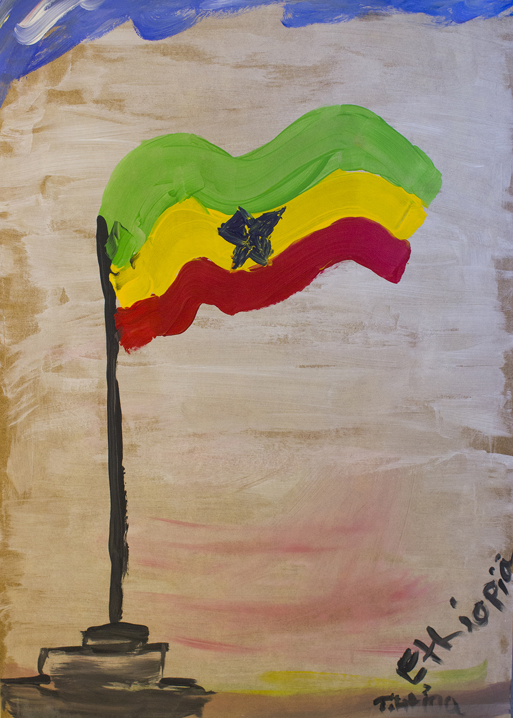 Most countries in Africa have these three colours in some ways. Green symbolises life. Yellow symbolises hope. And red is the blood of the people. - Tihtina, Ethiopia, Norway