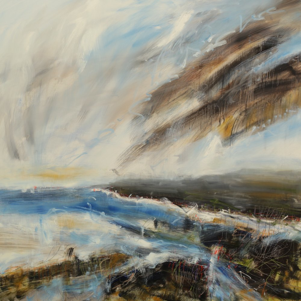 Wild skies, oil on wood panel, 120 x 120cm