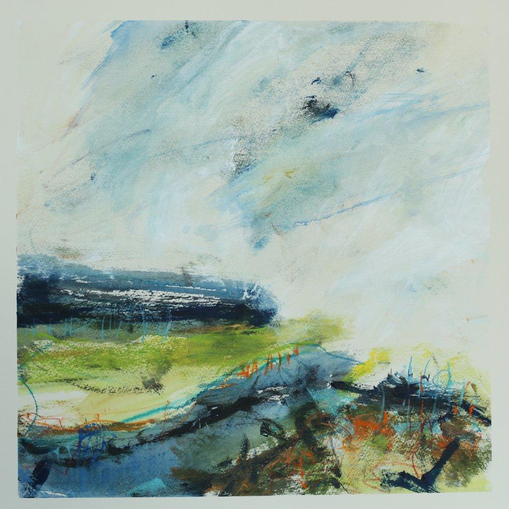 To the sea, watercolour, 40 x 40cm